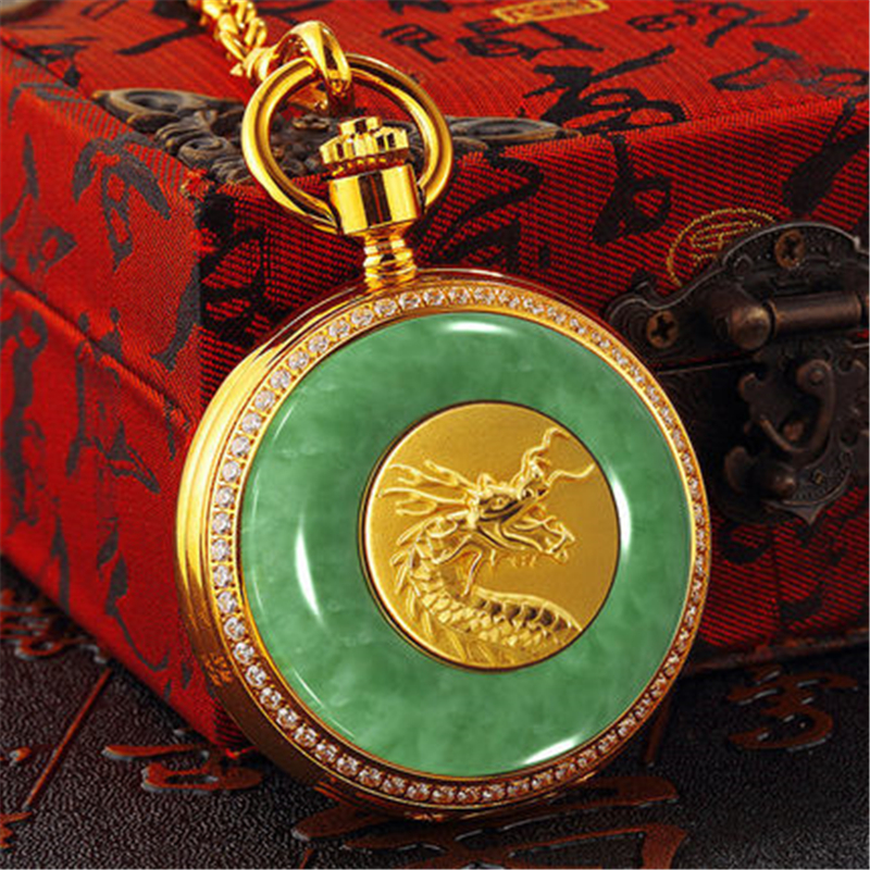 New Womens pocket watch vintage pocket watches jade mechanical hollow perspective classic collection creative pocket Watch MenNew Womens pocket watch vintage pocket watches jade mechanical hollow perspective classic collection creative pocket Watch Men