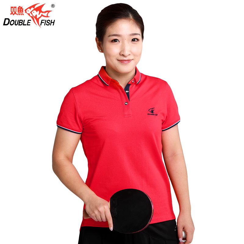 Double fish Table Men Women Tennis Shirts clothes Table Tennis TShirt Female Sports Solid Shirt Short Sleeve Breathable Fast Dry(China)