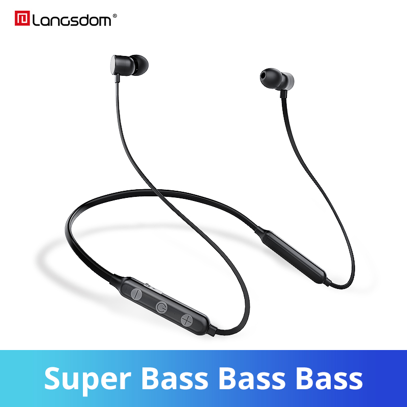 Langsdom BX9 auriculares bluetooth inalambrico 12h música ligero cuello deporte auriculares estéreo auriculares para iPhone Android Teléfono