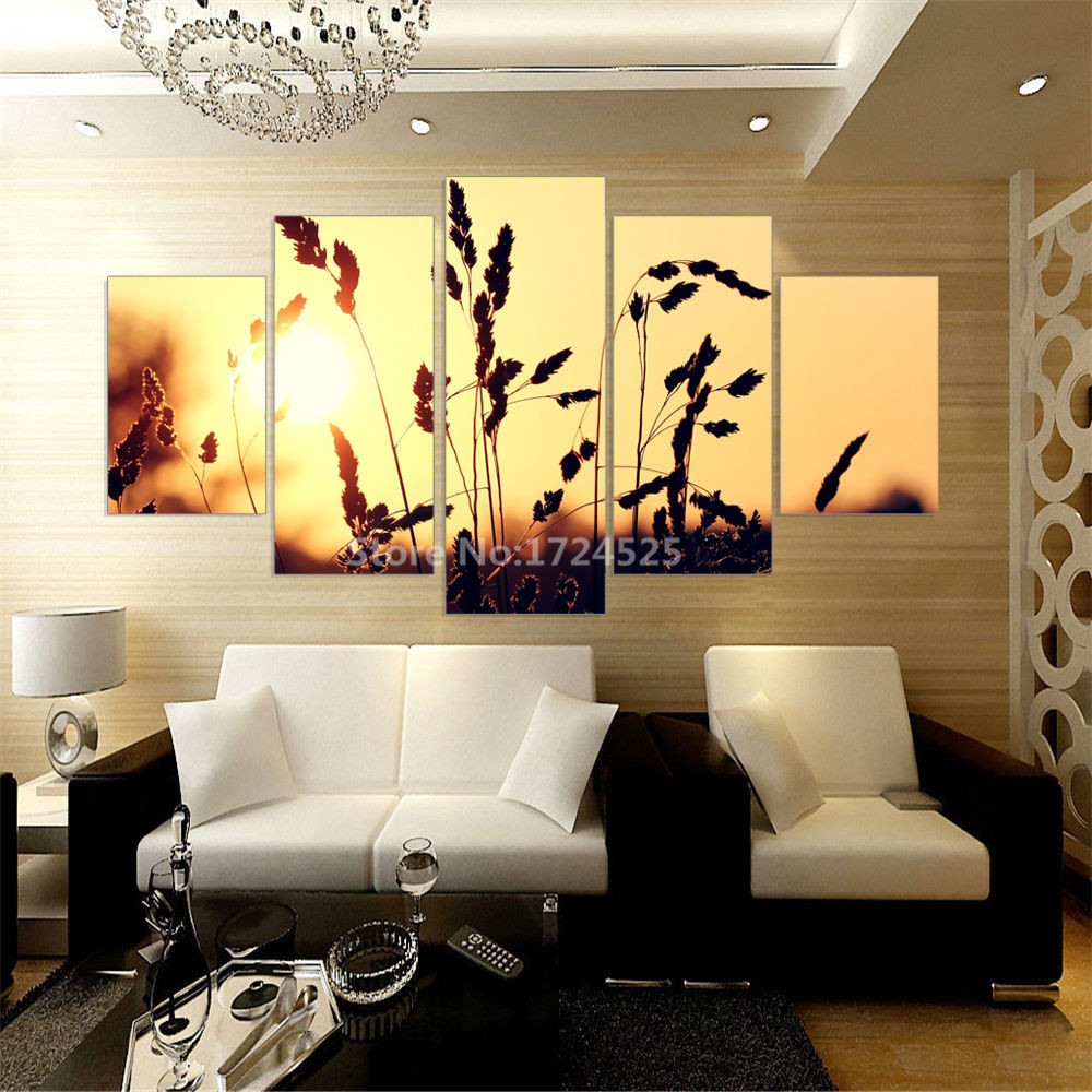 5 Panels Canvas Prints Golden Wheat Picture Modern Canvas Painting ...