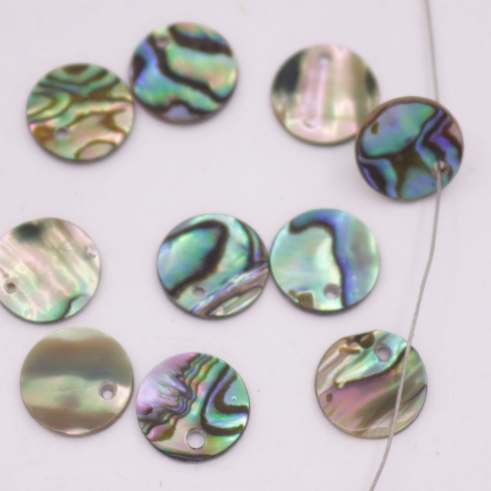 Купить с кэшбэком 10PCS Coin Natural Green Abalone Shell Jewelry Making Charms Choose 10 12 15 30mm