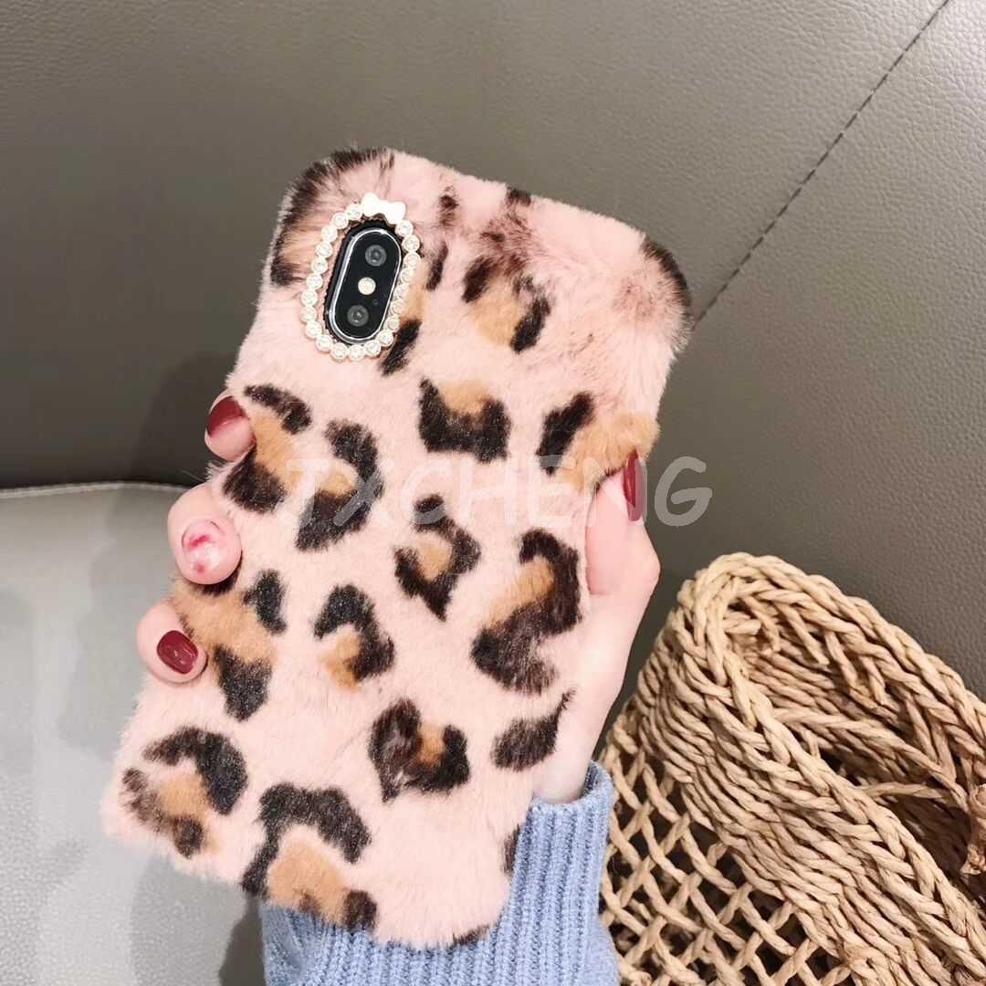 3D Cassa Del Coniglio per il iPhone 4 4S 5 5S SE 6 6S 7 8 Più XS XR XS MAX Cute Bunny Peloso Pelliccia Caldo del Rhinestone di Bling Peluche Molle Della Copertura di TPU