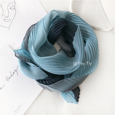 HOT SELLING Fashion color matching pleated silk scarf IN STOCK image