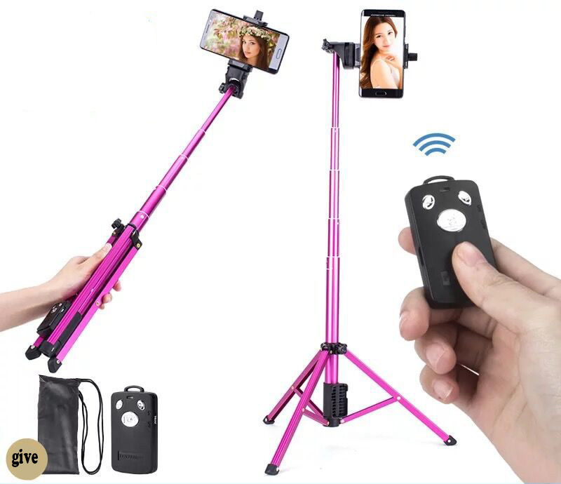 54 inch 3 in 1 Foldable Selfie Stick Bluetooth Selfie Stick+Tripod+Bluetooth Shutter Remote Controller for Mobile Phone Stick universal android ios phone folding extendable selfie stick auto selfie stick tripod clip holder bluetooth remote controller set