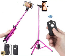 Купить с кэшбэком 54 inch 3 in 1 Foldable Selfie Stick Bluetooth Selfie Stick+Tripod+Bluetooth Shutter Remote Controller for Mobile Phone Stick