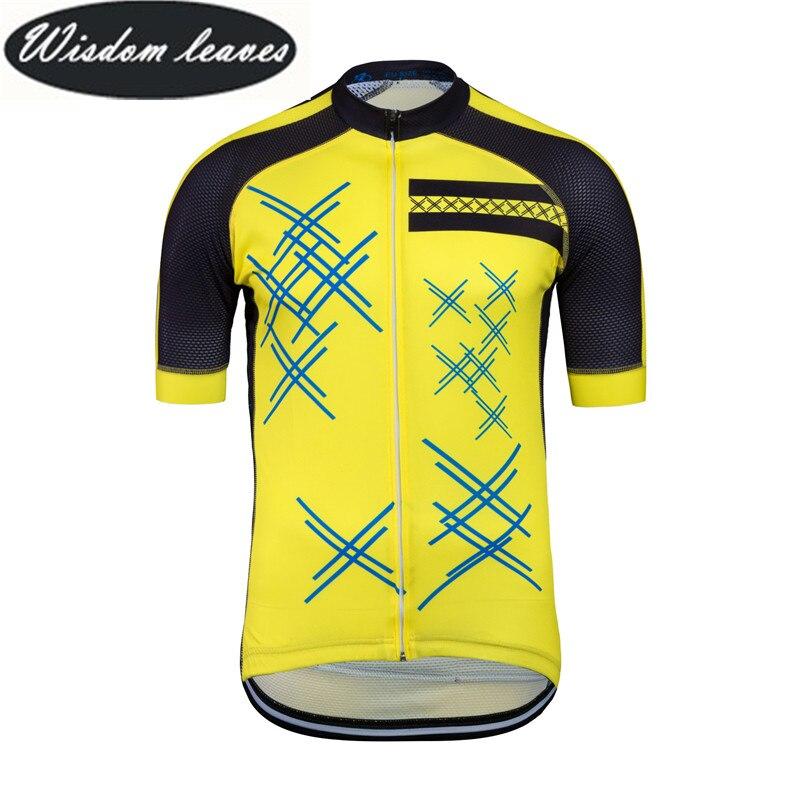 Sabiduría hojas 2017 Nuevo diseñador marca hombres profesional ciclismo Jersey mujeres de manga corta ROPA DE LA BICI motocross ODM