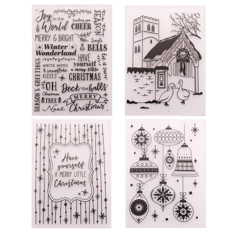 Christmas Plastic Embossing Folders Stencil Template Scrapbooking Paper Card DIY