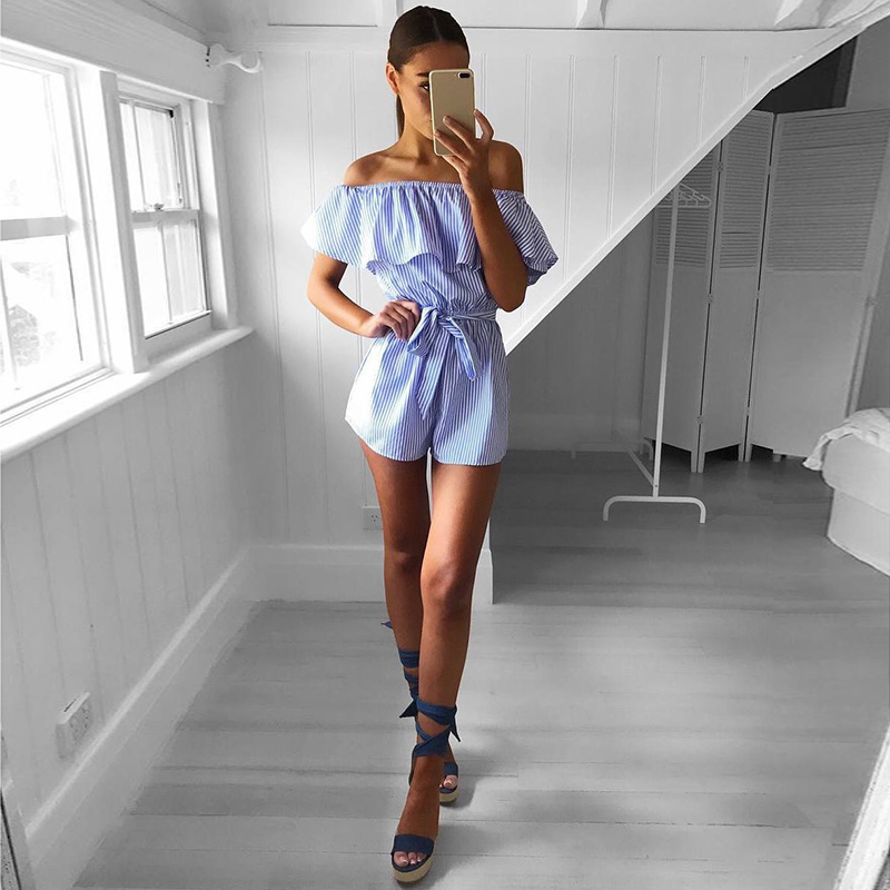 Fashion Sexy Women Off Shoulder Ruffle Striped Short Jumpsuits Summer Beach Playsuit Overalls Clothes GM(China)
