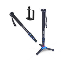 Manbily A 222 +M 1 Walking Stick Base Tripod 1650mm Alumninum Camera Unipod Monopod Flip Lock w/3 Legs Base Tripod For DSLR DV