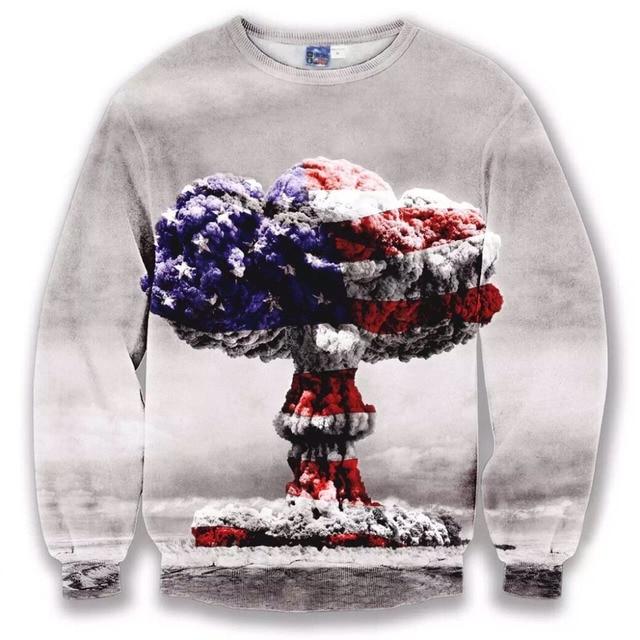 2016 New Fashion Women/Men 3D hoodies sweatshirts Casual   American flag clown cloud Funny 3d Tee Tops