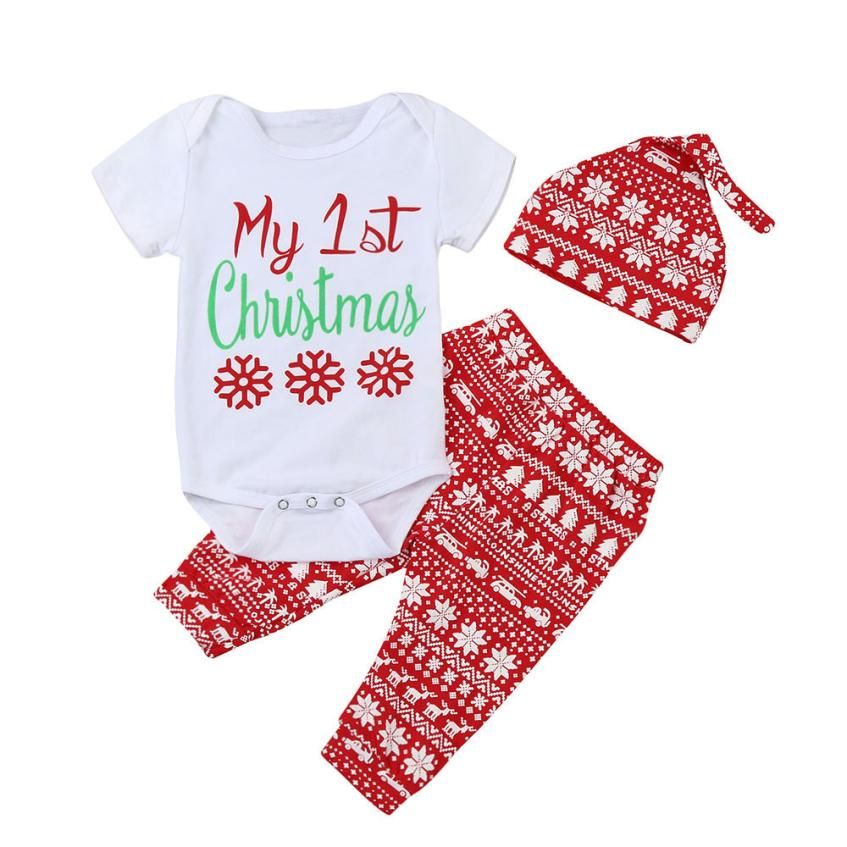 Newborn Infant Baby Boy Girl Romper Tops+Pants+Hat Snow Print Letter Christmas 3PCS Clothes Set Sep 14