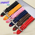 UYOUNG the quality of leather watch band 22 mm carbon fiber pattern belt with a steel clip for men and women