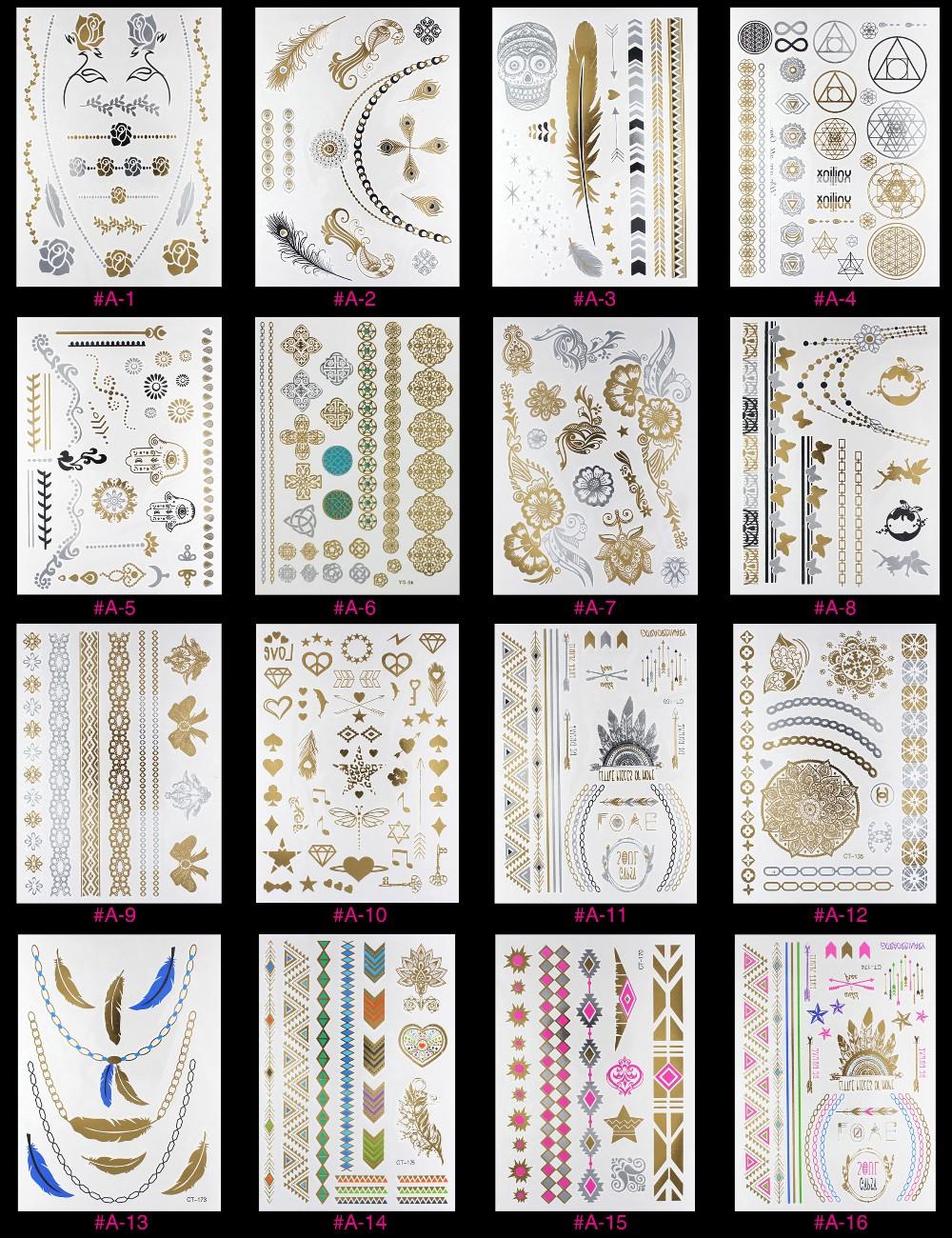 New Design Flash Removable Waterproof Gold Tattoos Metallic Temporary Tattoo Stickers Temporary Body Art Tattoo 12
