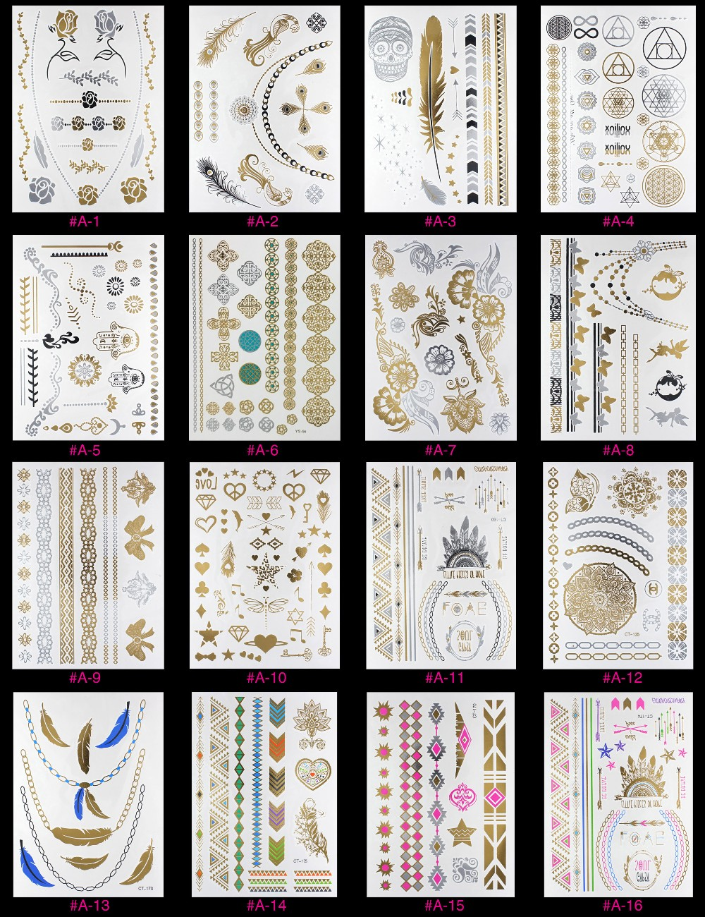 New Design Flash Removable Waterproof Gold Tattoos Metallic Temporary Tattoo Stickers Temporary Body Art Tattoo 12