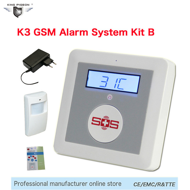 Best Price Burglar Alarm SOS Panic Button LCD Display SMS Panel IOS/Android Temperature Controller GSM Home Security Alarm System K3B