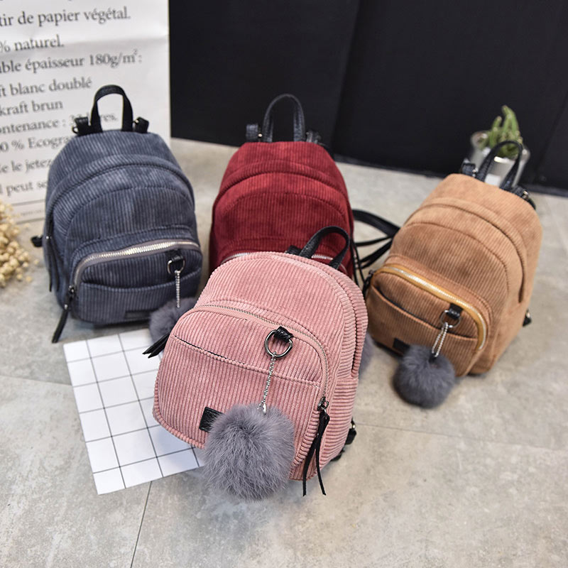 New Fashion Women Backpack Girls Shcool Bag Corduroy Stripe for College Students  Rucksacks Travel Popular Shoulder Backpack-in Backpacks from Luggage   Bags  ... 8310494db2272
