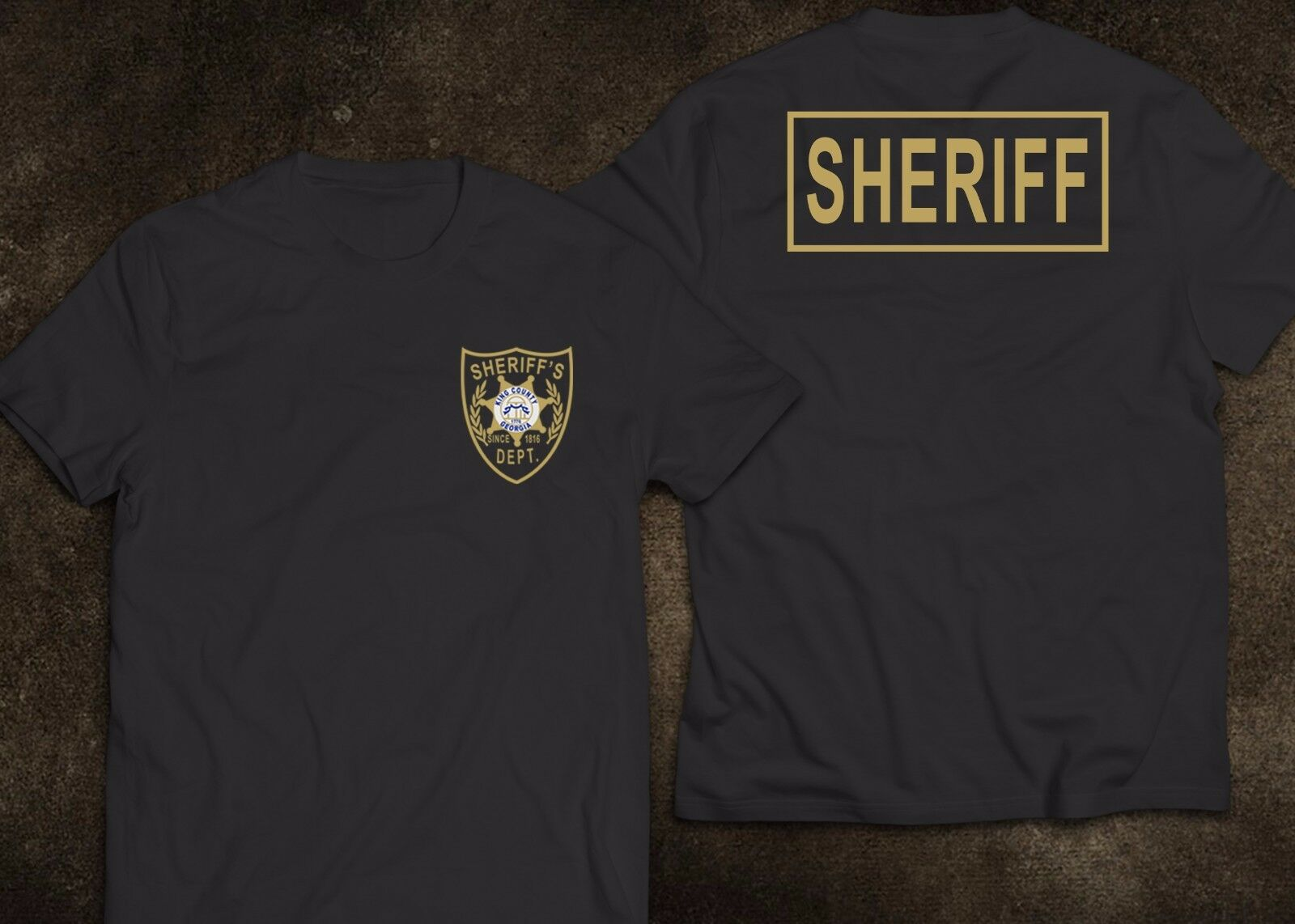 2019 Funny New Sheriff King County Georgia Police United States The Walking Dead T-Shirt Double Side Unisex Tee