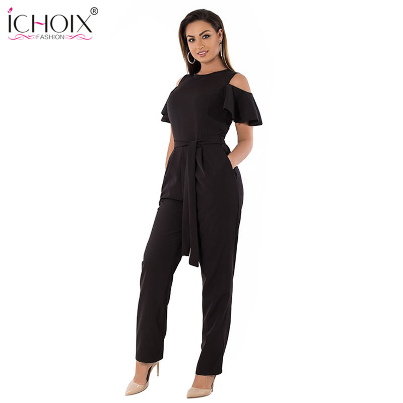 5XL 6XL Summer Plus Size   Jumpsuit   women 2019 Sexy Off Shoulder Big Size Romper Overall Large Size Casual Female Elegant   Jumpsuit