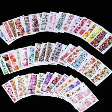 TOMTOSH 50pcs Mixed 50 Designs Flower Nail Art Full Wraps Nail Foils Nail Art Sticker Decals Water Transfer