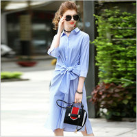 American 2017 Women Spring Summer Quality 100 Cotton Bow Embroidery Stripe Dress Ladies Casual Single Breasted