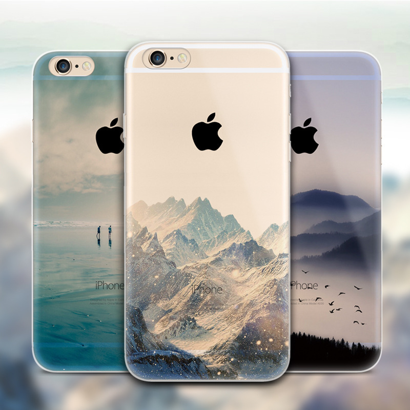 outlet store cd666 848fc US $1.99 |Ultra Thin Soft Silicon Mountain Case Funda Cover For Apple  iPhone 6 iPhone 6s Plus Case Luxury Transparent Back Cover For Phone on ...