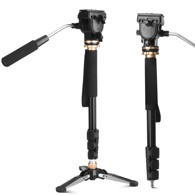 Professional DSLR Video Camera Tripod Monopod with Fluid Pan Head Unipod for Nikon Canon Camera цена