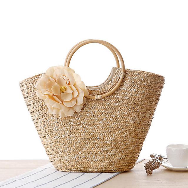 48*28 cm Boho Stroh Tasche Sommer Strandtasche Dame häkeln Korb Handtasche Rattan gewebt Seide Blume candy Farbe Einkaufstasche Böhmen Stil