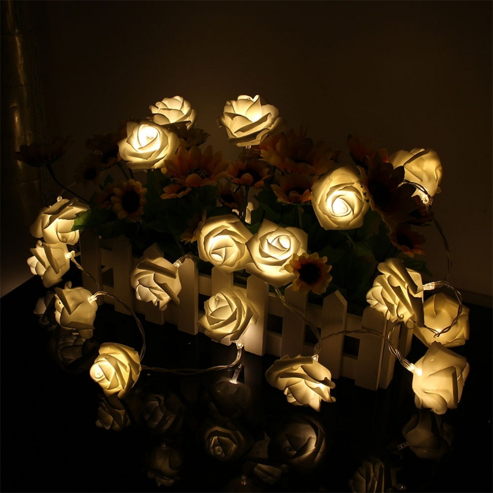 Flower string lights - 2017 Hot 20 Led Rose Flower Warm White Fairy String Light Xmas Party Battery Operated Battery Powered Decoration String Light