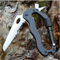 Самозащита наружные мульти-функциональные инструменты 5 в 1 Алюминиевый карабин для альпинизма крюк безопасности Шестерня мульти инструмент Пряжка рок