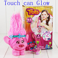 Hot Trolls Town Poppy Branch PVC Action Figure Toys With LED Light Touch Glow Hair Up Christmas Toys For Children