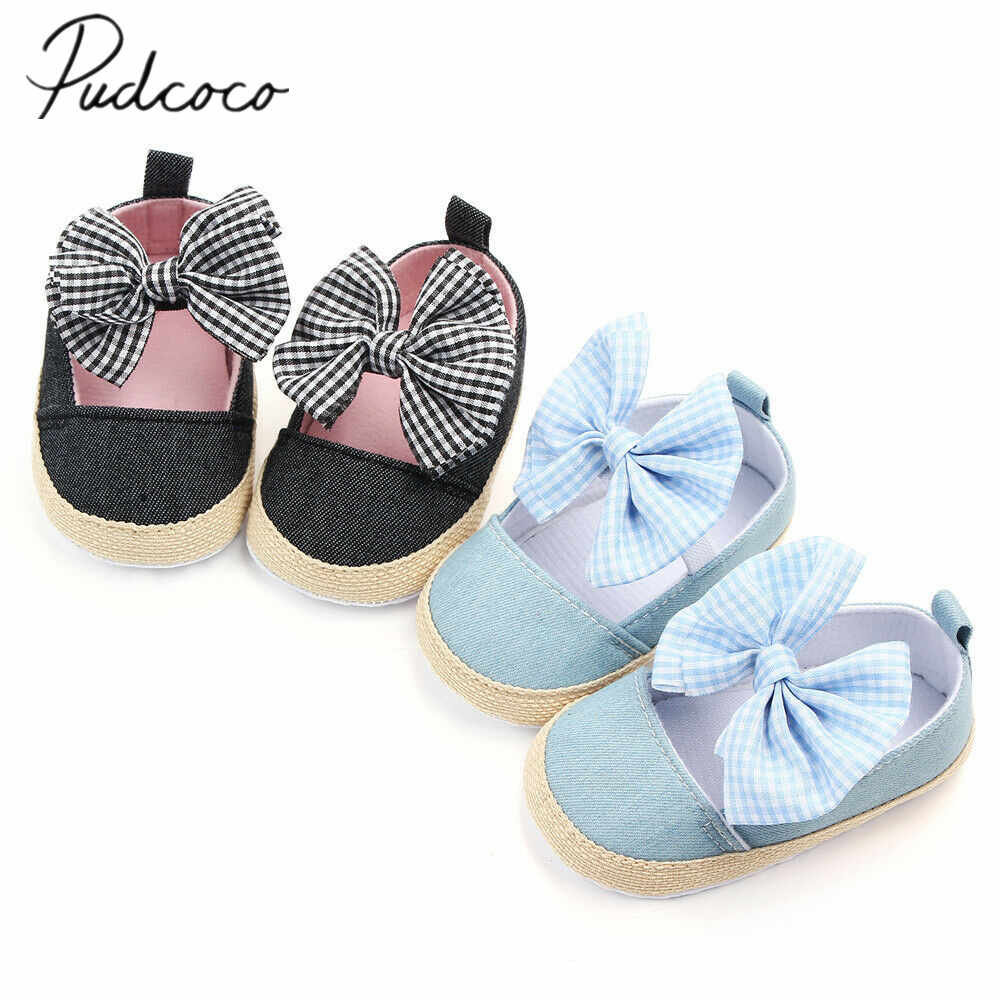 Newborn Baby Girl Bowknot Lace Shoes Sneaker Anti-slip Soft Sole Toddler 2019