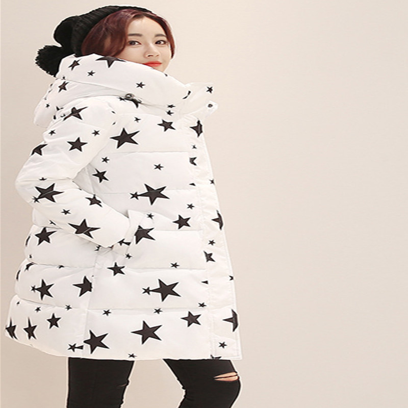 Fashion Winter Cotton Padded Jacket Women Slim Thick Stars Print Female Coat Parka Warm Winter Long Jackets Ladies Free shipping andré hazes jr antwerp