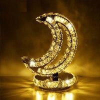 Crystal Moon Shape Table Lamp Bedroom LED Lampara mesa moderna Creative Art Crystal tafellamp goud