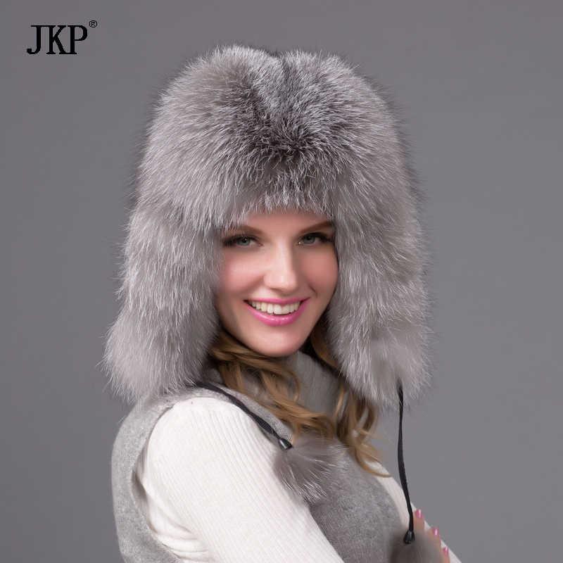 Winter pelzmütze natürliche fox pelzmütze herbst und winter weibliche winter bomber hut