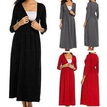 Summer Dress Female Women Solid V-Neck Three quarter Sleeve Maternity Pregnant Dress Robe Vestidos MM625