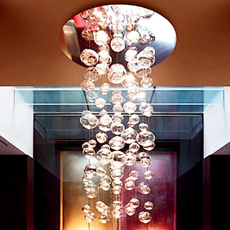 Modern  Transparent Stair Glass Ball Bubble Hanging Wire Pendant Lamp Dia 60*h150cm