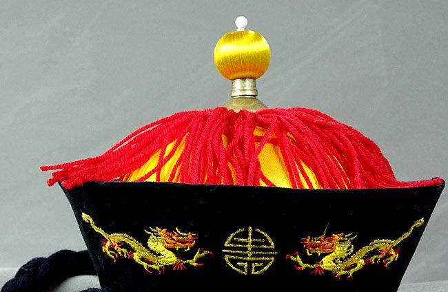 5piece China Silk Emperor Black Yellow Hat Cap Dragon Hat