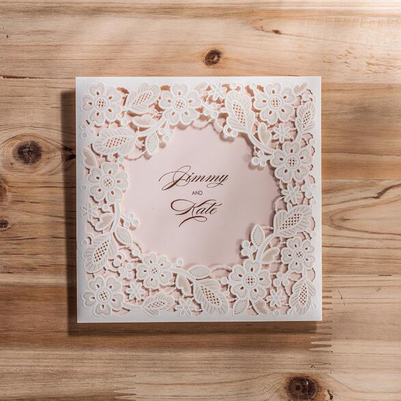 50pcs White Marriage Wedding Invitations Cards Laser Cut 3D Card Greeting Cards Invite friends Postcard Event & Party Supplies 1pcs sample laser cut bride and groom marriage wedding invitations cards greeting cards 3d cards postcard event party supplies