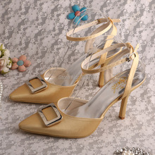 Wedopus Топ Продаж Лодыжки Ремень Острым Носом Золото Невесты Обувь Свадебные Сандалии Высокой Пятки Женщин Выпускных Вечеров