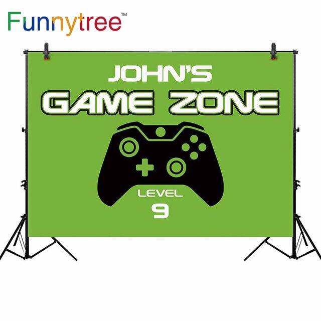 Funnytree رقيقة الفينيل القماش الوليد خلفية لعبة منطقة مستوى 9 لاعب ناقلات مقبض الأخضر صبي عيد ميلاد خلفية للتصوير الفوتوغرافي