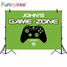 Funnytree pano de vinil fino pano de fundo recém nascido zona de jogo nível 9 jogador vetor lidar com o fundo do aniversário do menino verde para a fotografia