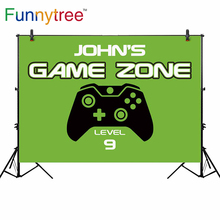 Funnytree thin vinyl cloth newborn backdrop game zone level 9 player vector handle green boy birthday background for photography