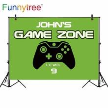 Funnytree vinile sottile panno fondale neonato gioco zona di livello 9 lettore vector maniglia verde ragazzo di compleanno sfondo per la fotografia