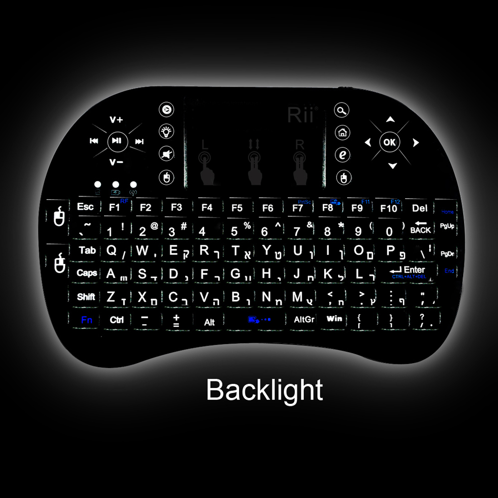 все цены на 2.4G wireless Rii Mini i8 + Multifunction Backlit Hebrew Russian Spanish Keyboard with Touchpad for Smart Android IPTV BOX