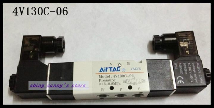 1Pcs 4V130C-06 AC220V  Solenoid Air Valve 5 port 3 position BSP 1/8 1pcs 4v130c 06 ac110v solenoid air valve 5 port 3 position bsp 1 8