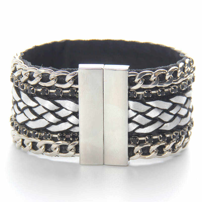2016 Nova moda pulseiras de couro pulseira cruz tecido fecho Magnético cristal e corda cadeia de moda jóias da Mulher 2 cores
