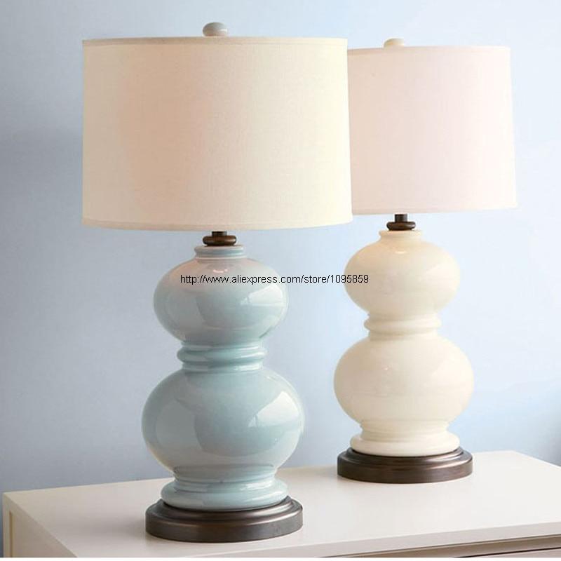 Bluewhite gourd modern ceramic table lamps living room bedroom bluewhite gourd modern ceramic table lamps living room bedroom desk light round fabric shade h 267 aloadofball Choice Image