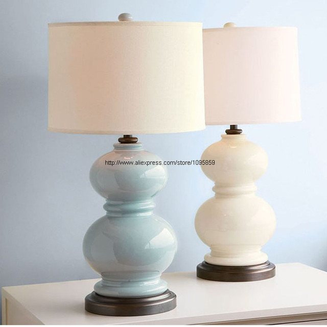 Blue/White Gourd Modern Ceramic Table Lamps Living Room Bedroom Desk Light  Round Fabric Shade