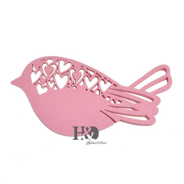 120pclot pink laser cut bird wedding table place paper card customize color wedding