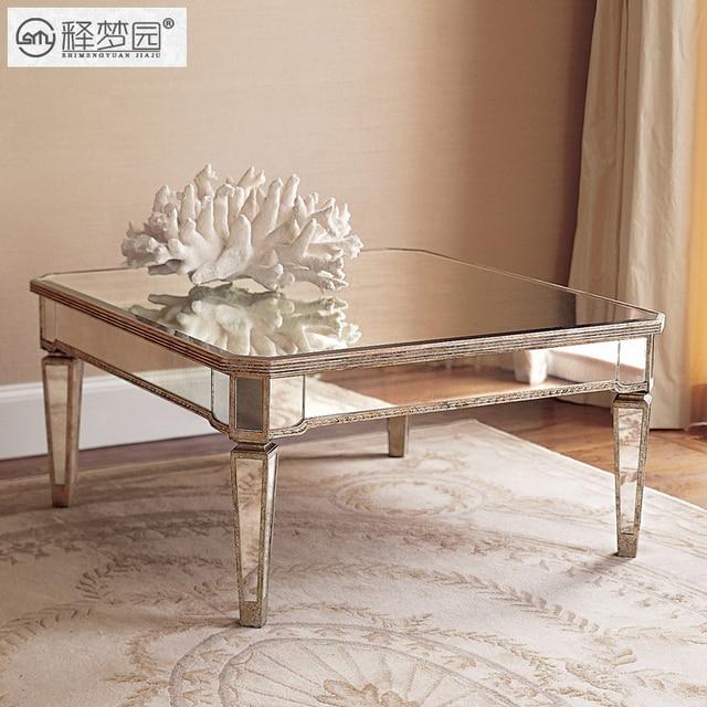 Bon Interpretation Of Dreams Park Mirror Glass Coffee Table Storage Stylish  Modern Living Room European Style